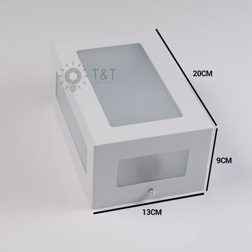 10 arandela 5 vidros retangular alumínio muro parede externa