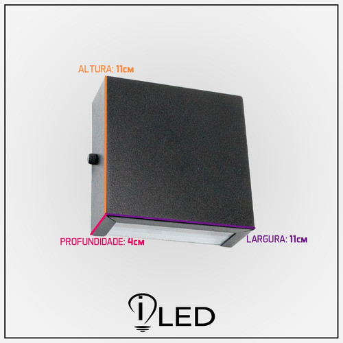 10 arandela led externa aluminio 1 foco slim ar7  10lampadas