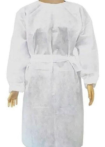 10 avental descartável hospitalar manga longa tnt branco