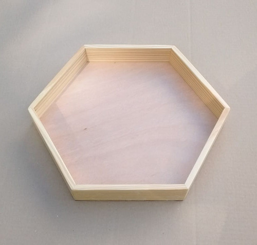 10 bandejas sextavada de madeira pinus com verniz 30x30x4 cm