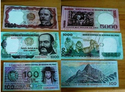 10 banknotes peru completa billetes antiguos de soles de oro