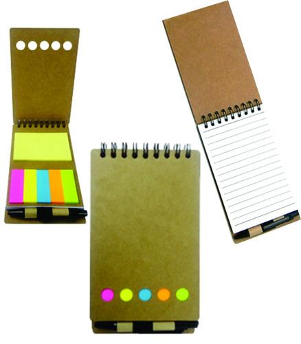 10 bloco de anotações ecológico, c/ post-it + caneta