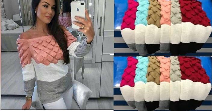 ccc533712 10 Blusa Tricot Feminina 3 Cores Ombro A Ombro Frio Atacado - R$ 500 ...