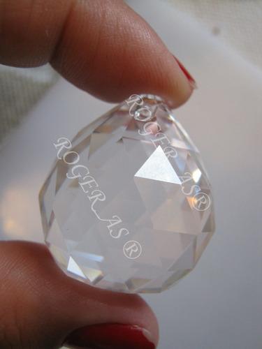 10 bola esfera de cristal k9 feng shui 30mm com argola aço