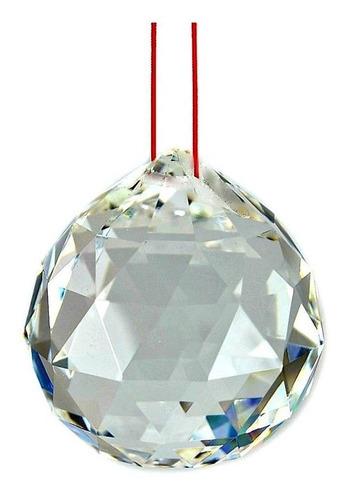 10 bola esfera multifacetada cristal k9 40mm com fio vermelho
