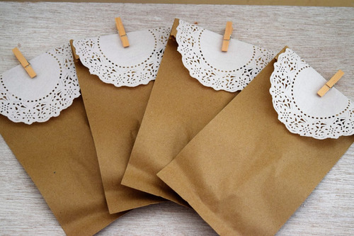 10 bolsas de papel kraft 13 x 25 cm, blonda y pinza fina