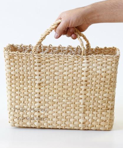 10 bolsas palha de milho praia sacola feira 35x11x27 fechada