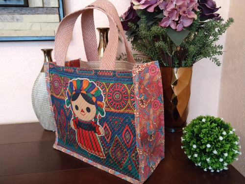 10 bolsas tipo artesanales en yute textil para dama