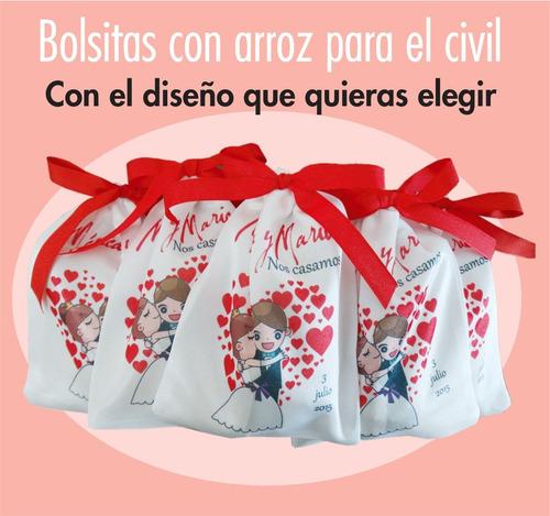 10 bolsitas c/arroz estampadas personalizadas para el civil