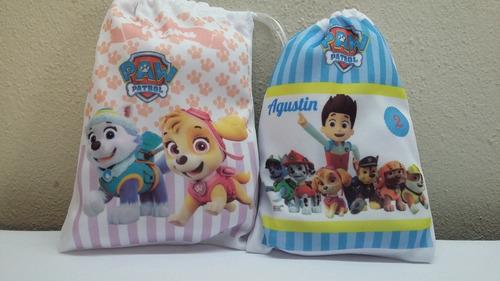 10 bolsitas de tela estampadas 12x15 personalizadas + regalo