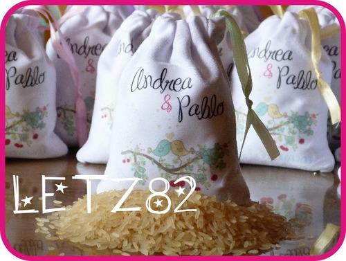 10 bolsitas de tela estampadas + arroz para el civil!