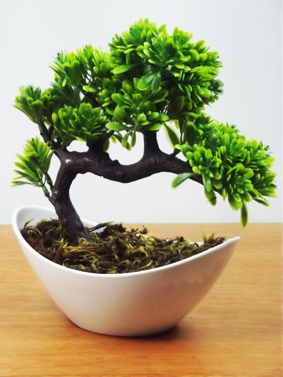 10 Bonsai Vaso Branco Mini Arvores Artificial Plantas