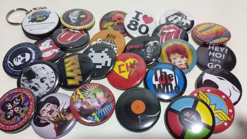 10 bottons 3,5 rock & roll botons button pins broches