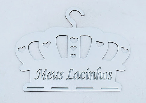 10 cabides coroa meus lacinhos mdf branco - oferta exclusiva