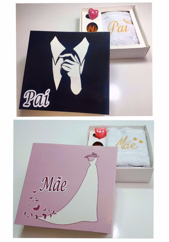 10 caixas madrinha padrinho mãe pai toalha bordada lembrança