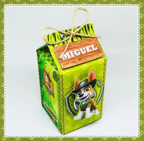 10 caixas milk patrulha canina tracker festa infantil
