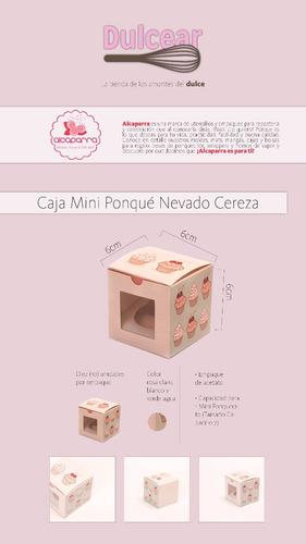 10 cajas de regalos para mini ponquecito cupcake nev. cereza