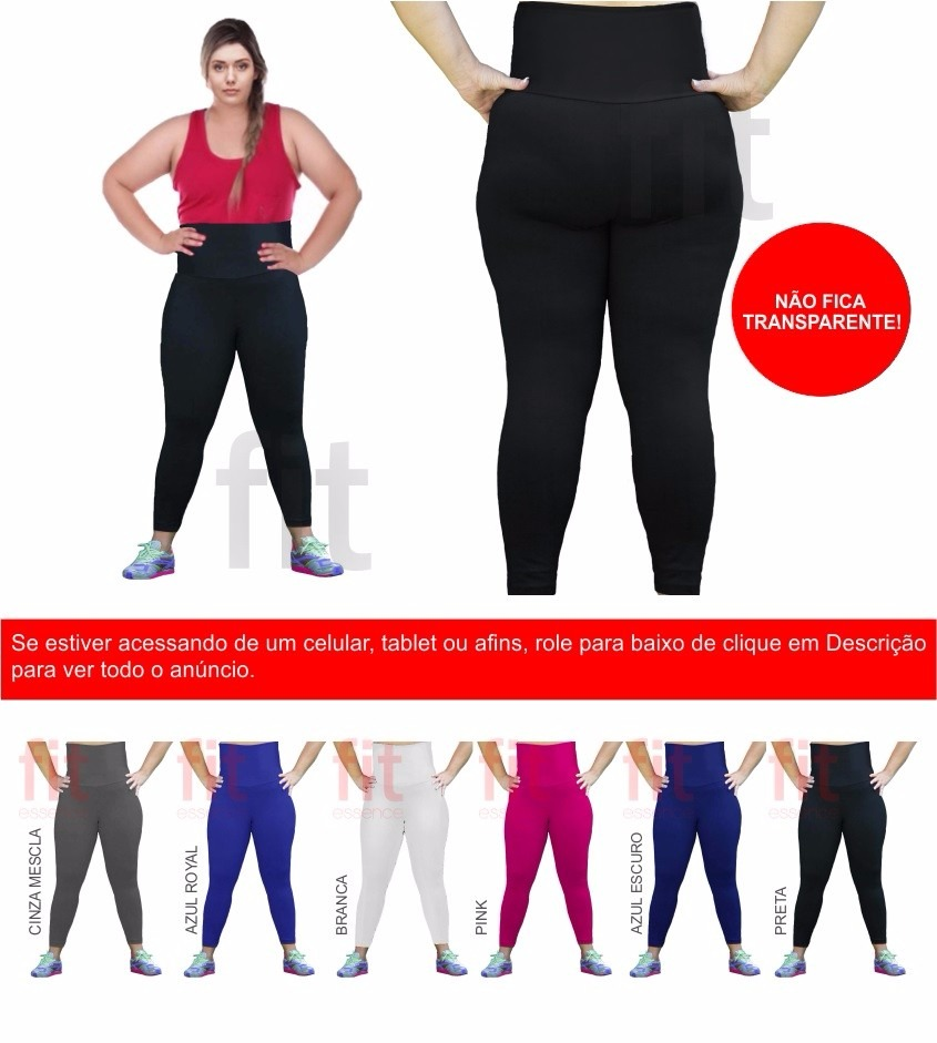 1ceb1b2ea 10 calças legging cintura alta plus size suplex poliam. Carregando zoom.