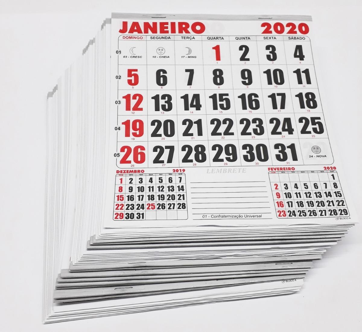 5e37ddde5 10 Calendários 2020 Kit Bloco 21 X 22 Folhinha Parede Refil - R  41 ...