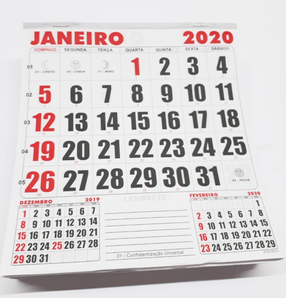 Calendario Dezembro 2019 Janeiro 2020.10 Calendarios Kit Bloco 21x22 Folhinha Parede Refil Anual