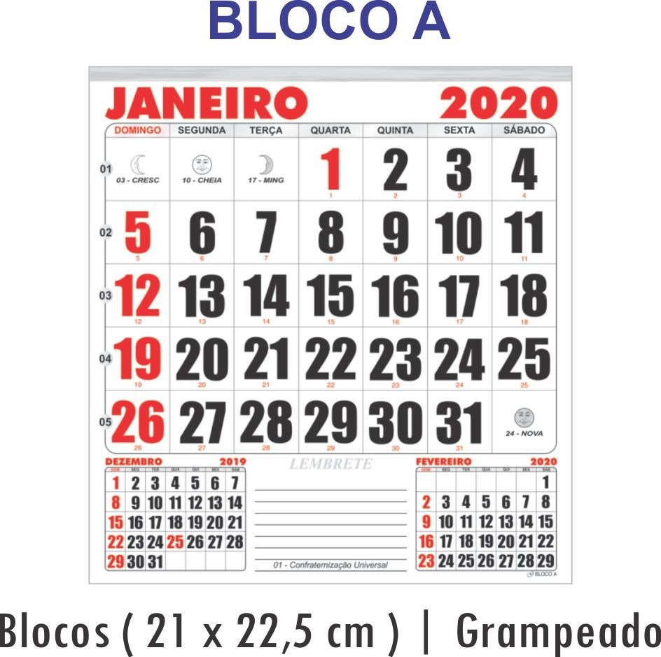 Calendario Serie A 2020 12.10 Calendarios Kit Bloco 21x22 Folhinha Parede Refil Anual