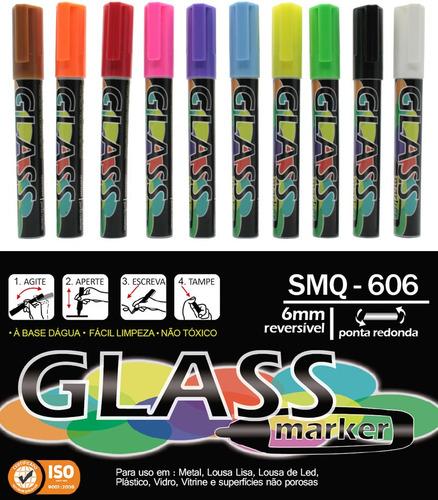 10 caneta fluorescente giz liquido window marker vidro carro