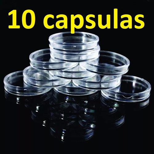 10 capsula acrilico moedas 1 real e ate 38mm - frete único
