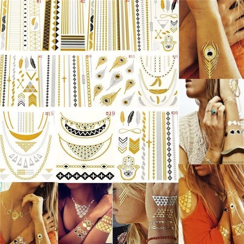 10 cartelas flash tattoos gold tatuagem temporaria adesiva