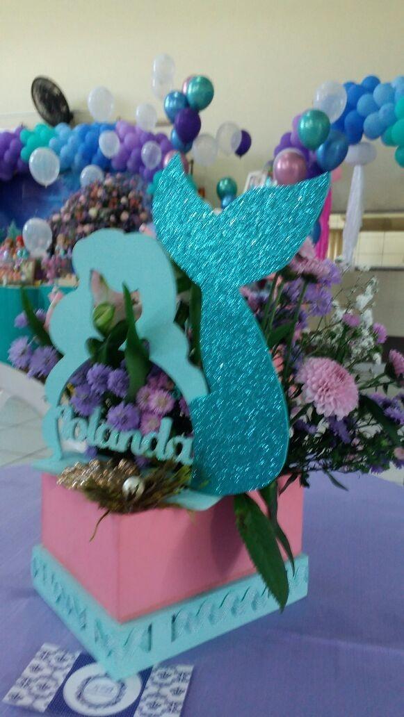 10 centro de mesa princesa ariel pequena sereia festa mdf - Peceras pequenas decoradas ...