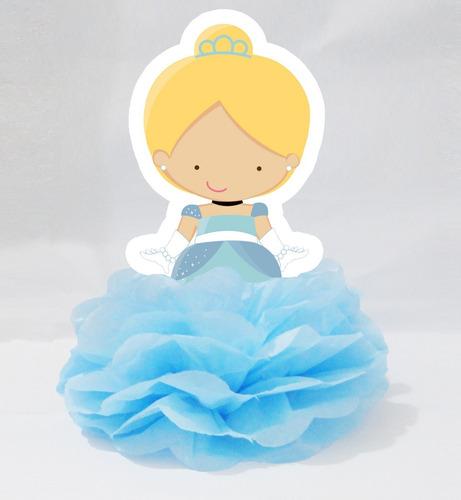 10 centro mesa display enfeite pompom cinderela bebê