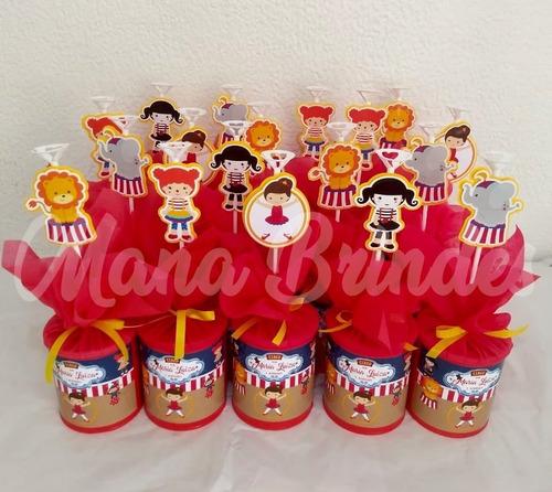 10 centros de mesa circo menina + brindes