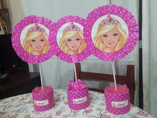 10 centros de mesa personalizados barbie