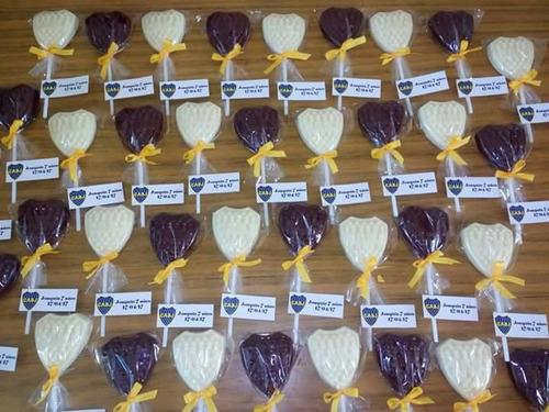 10 chupetines chocolate sin tacc escudo boca juniors