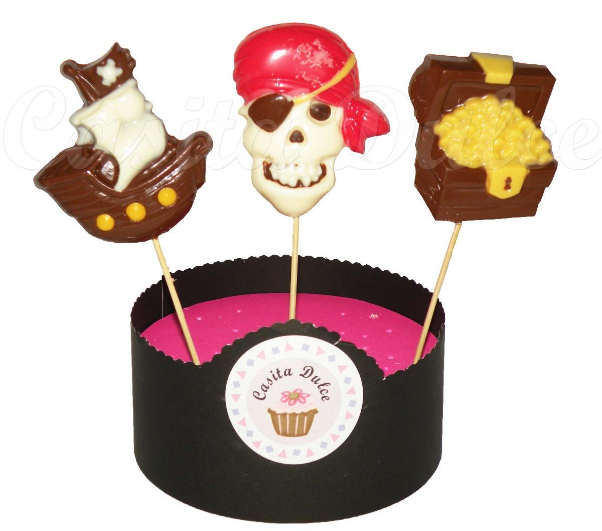 10 Chupetines De Chocolate Piratas Barco Calavera Exclusivos 450