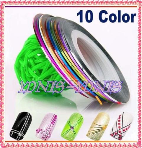 10 cintas metalizadas deco uñas stamping ydnis-maquillaje