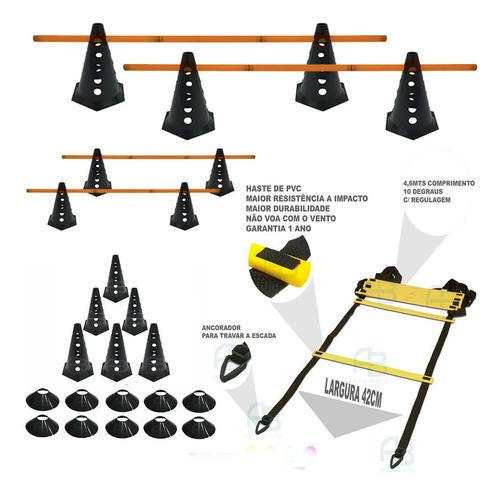 10 cones furados c/ barreira + 10 pratos + escada agilidade