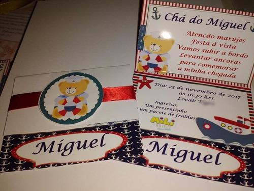 10 convite aniversario personalizado com fita e tag