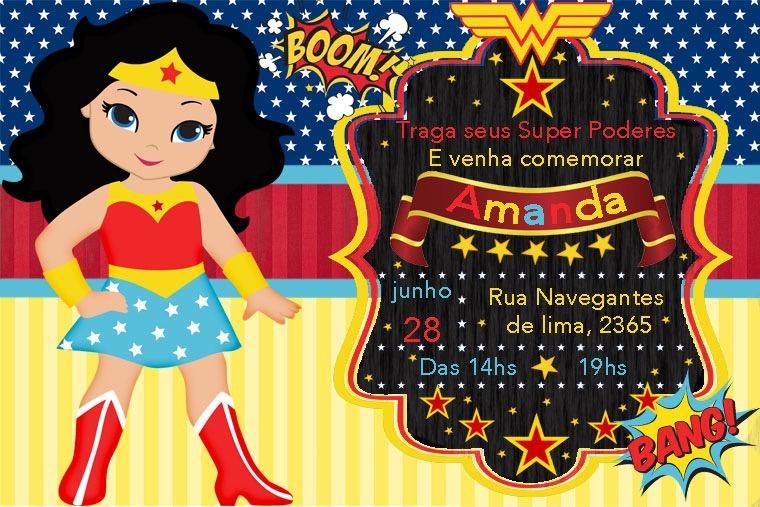 10 Convite Mulher Maravilha 10x15 Ju Uva R 30 00 Em Mercado Livre