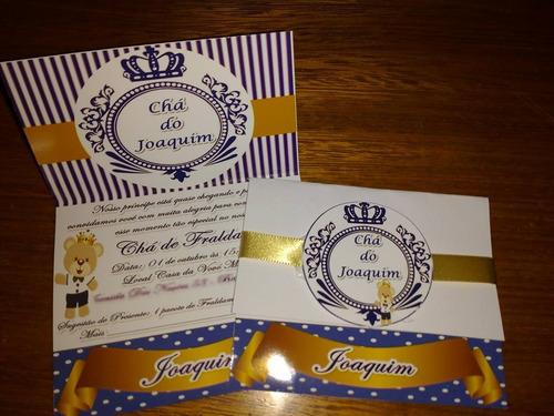 10 convites chá de bebê etc com envelope personalizados