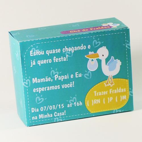 10 convites chá de fralda caixa personalizado.