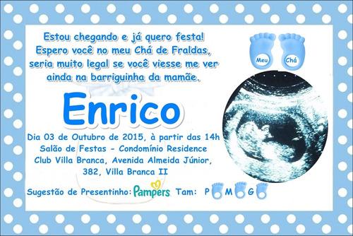 10 convites personalizados chá de bebê com envelope e selos