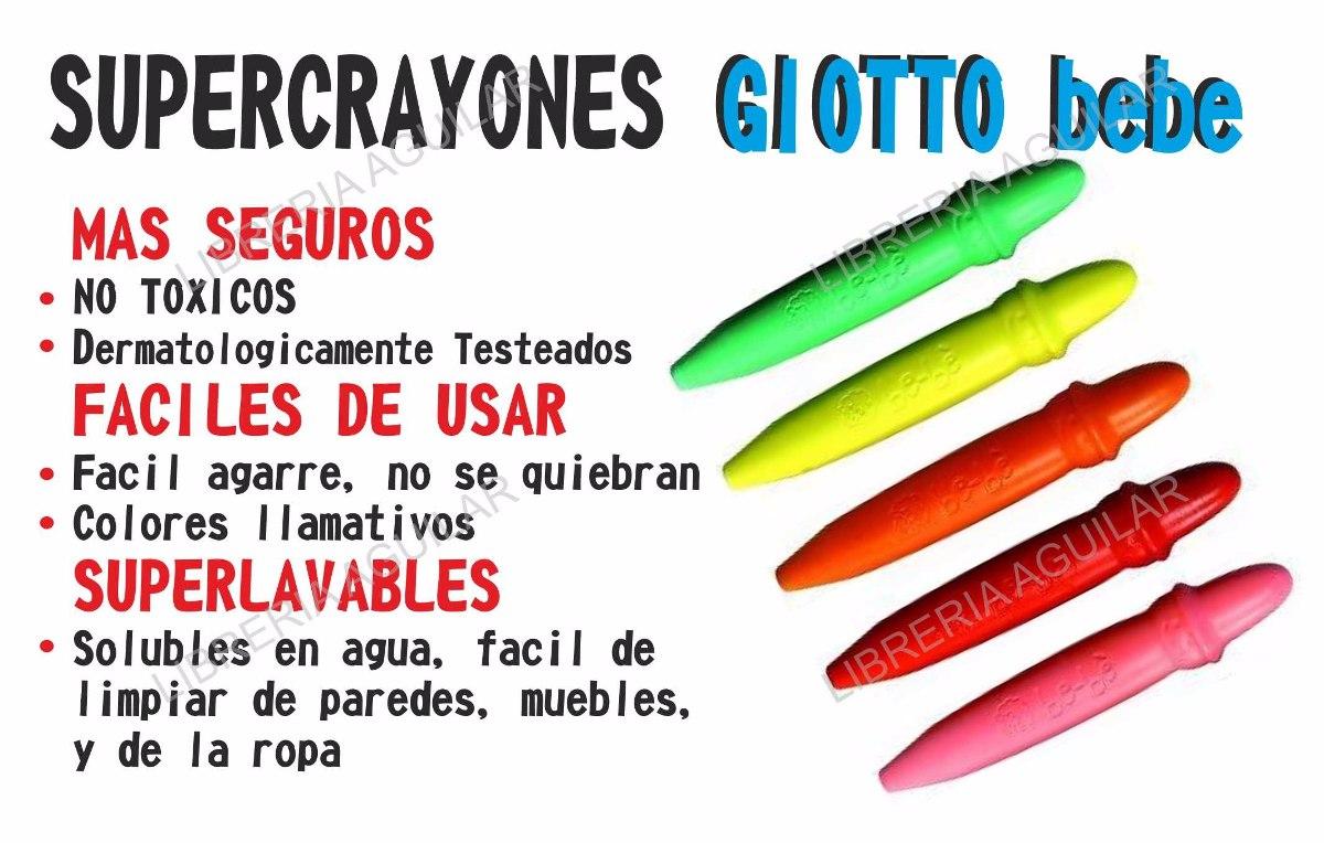 10 Crayones Giotto Bebe Super Ceras Italia Lavable No Toxico  # Muebles No Toxicos