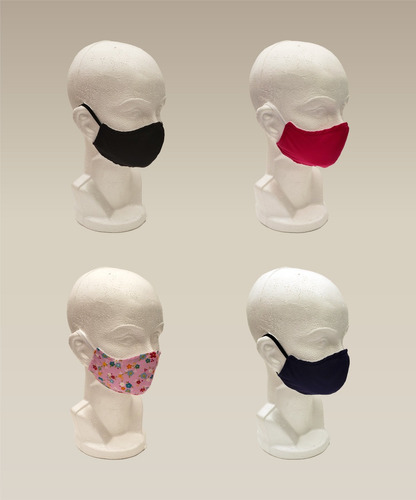 10 cubrebocas de tela 4 colores 3 tamaños, fibra de algodón