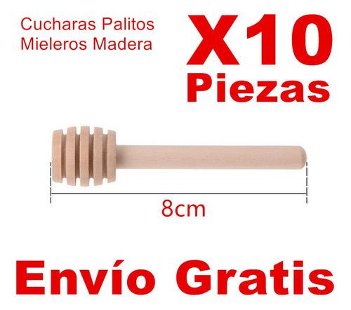 10 cucharas mieleras madera de 8cm