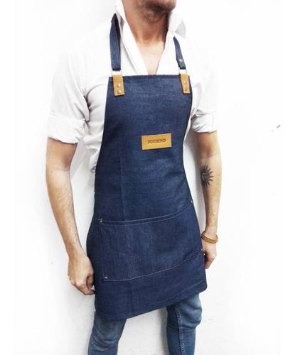 10 delantales de jean y cuero con tu logo o marca grabado