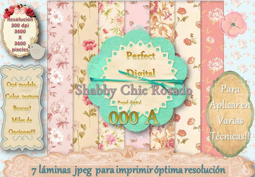 10 diseños cuadros rosas shabby chic romànticos flores 2x1