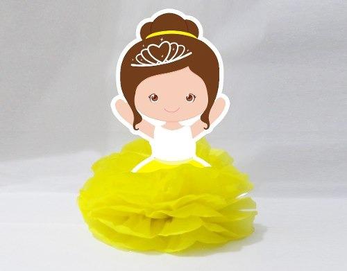 10 display de mesa pompom lembrancinha bailarina amarela