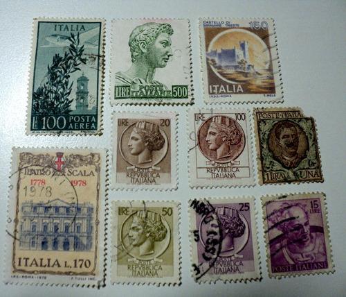 10 estampillas antiguas de italia