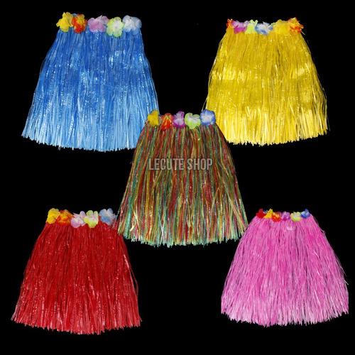 10 faldas hawaianas corta fiesta no incluye collar diademas