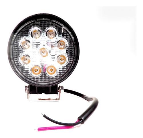 10 faro proyector redondo auxiliar 9 led 27w agro vehículo